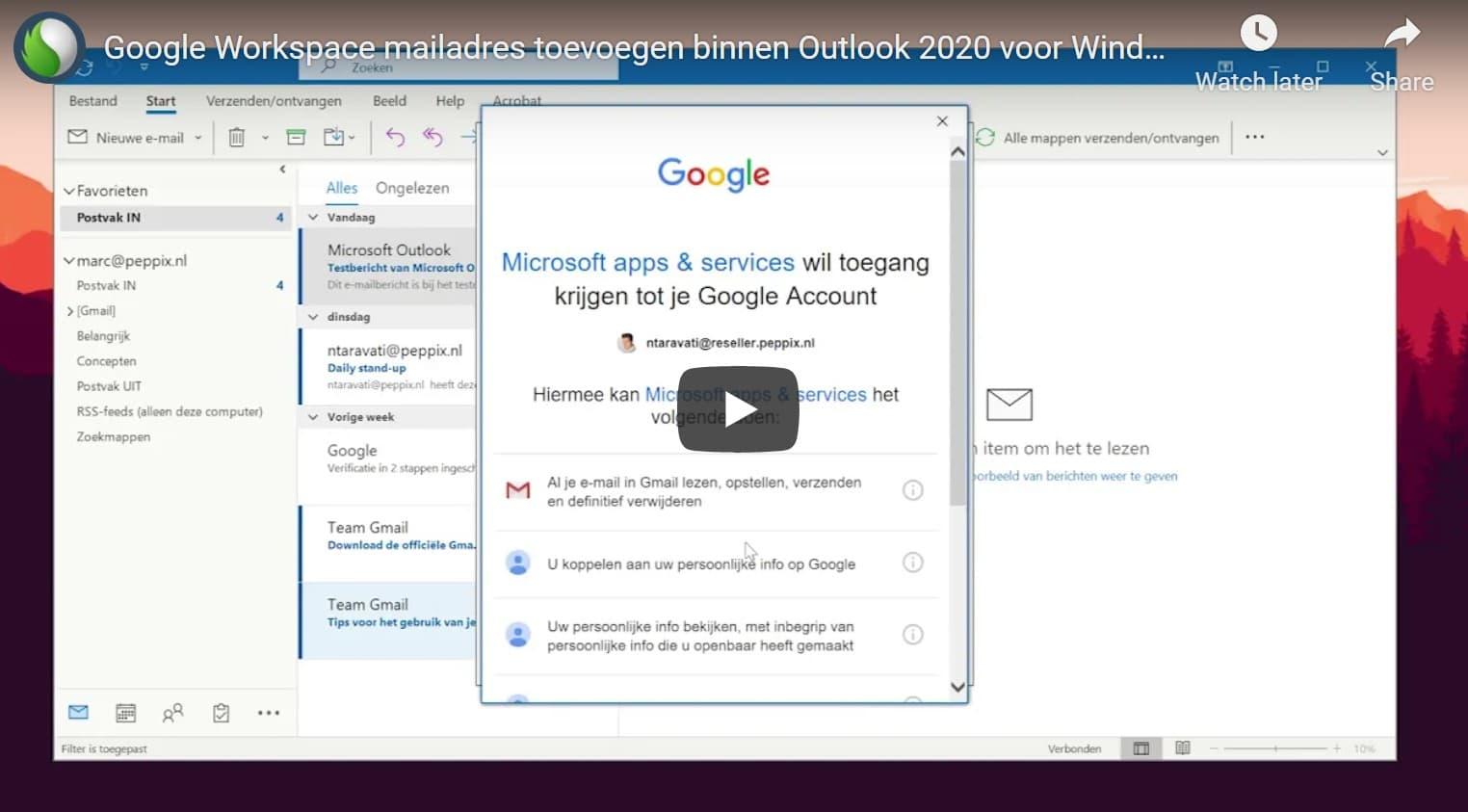 Google Workspace koppelen met Outlook 2020 bij Peppix Benelux